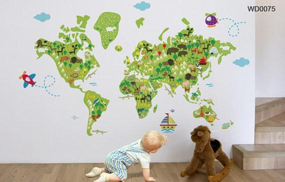 Map Of The World Kids Wall Sticker For World Map Wall Art For Kids (View 20 of 20)