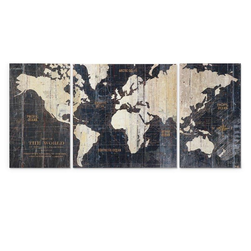 Mercury Row 'old World Map Blue' 3 Piece Graphic Art Print Set On For World Map Wall Art Print (View 7 of 20)