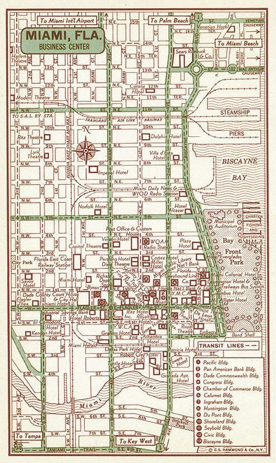 Miami Old Map Miami Print Miami Street Map Miami Vintage Within Florida Map Wall Art (Image 14 of 20)