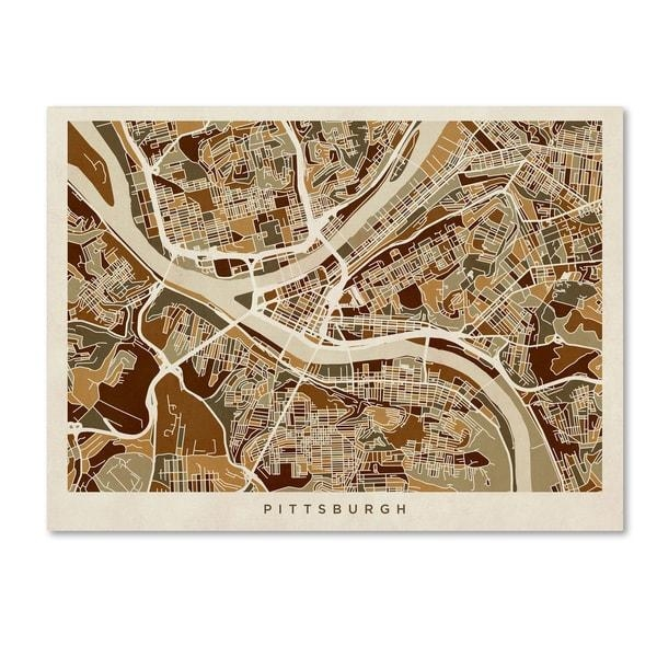 Michael Tompsett 'pittsburgh Pennsylvania Street Map' Canvas Wall For Pittsburgh Map Wall Art (View 3 of 20)