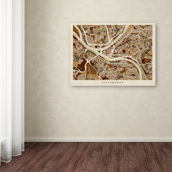 Michael Tompsett 'pittsburgh Pennsylvania Street Map' Canvas Wall Inside Pittsburgh Map Wall Art (View 19 of 20)