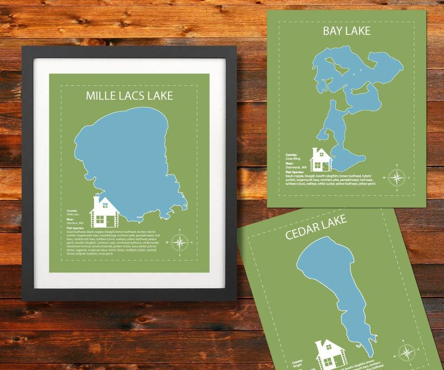 Mn Lake Map Poster: Custom Minnesota Lake Wall Art Home & Pertaining To Lake Map Wall Art (Image 10 of 20)