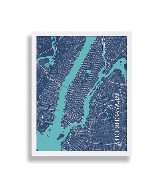 Modern Art Print New York City Print Nyc Map Print Manhattan Throughout City Prints Map Wall Art (Image 15 of 20)