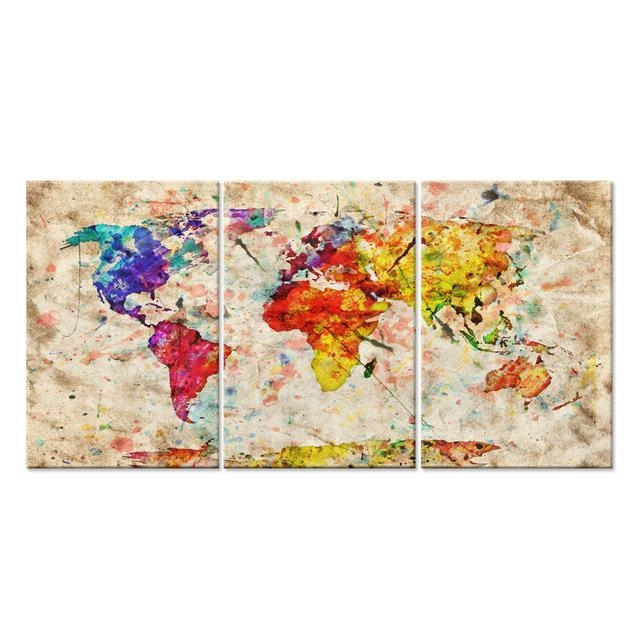 Modern Gallery Artwork World Map In Watercolor With Natural Color Pertaining To World Map Wall Art Print (Image 7 of 20)
