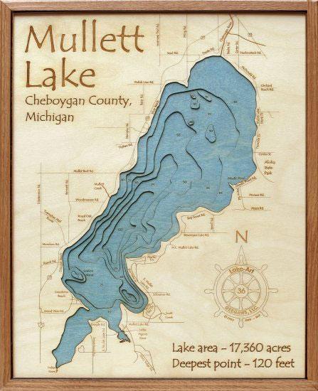 Mullett Lake 3D Depth Map – Grandpa Shorters Throughout Lake Map Wall Art (Image 11 of 20)