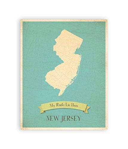 My Roots New Jersey Personalized Wall Map 11X14, Kid's New Jersey Intended For Personalized Map Wall Art (View 19 of 20)