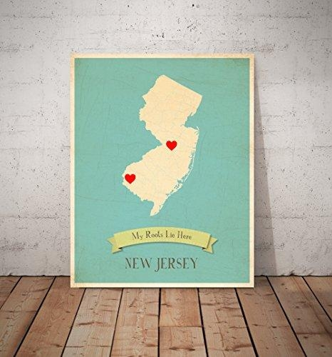 My Roots New Jersey Personalized Wall Map 11X14, Kid's New Jersey Throughout State Map Wall Art (Image 10 of 20)