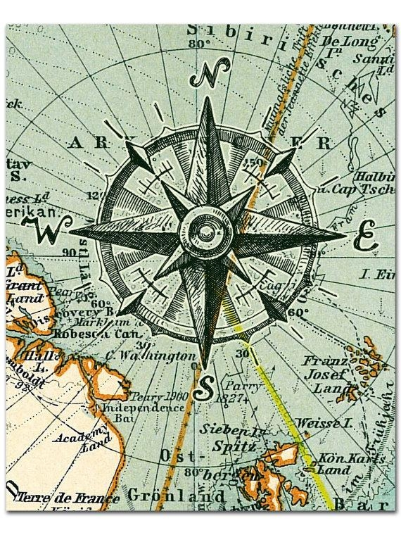 Nautical Map Compass Print Compass On Map Poster Nautical Intended For Nautical Map Wall Art (Image 16 of 20)