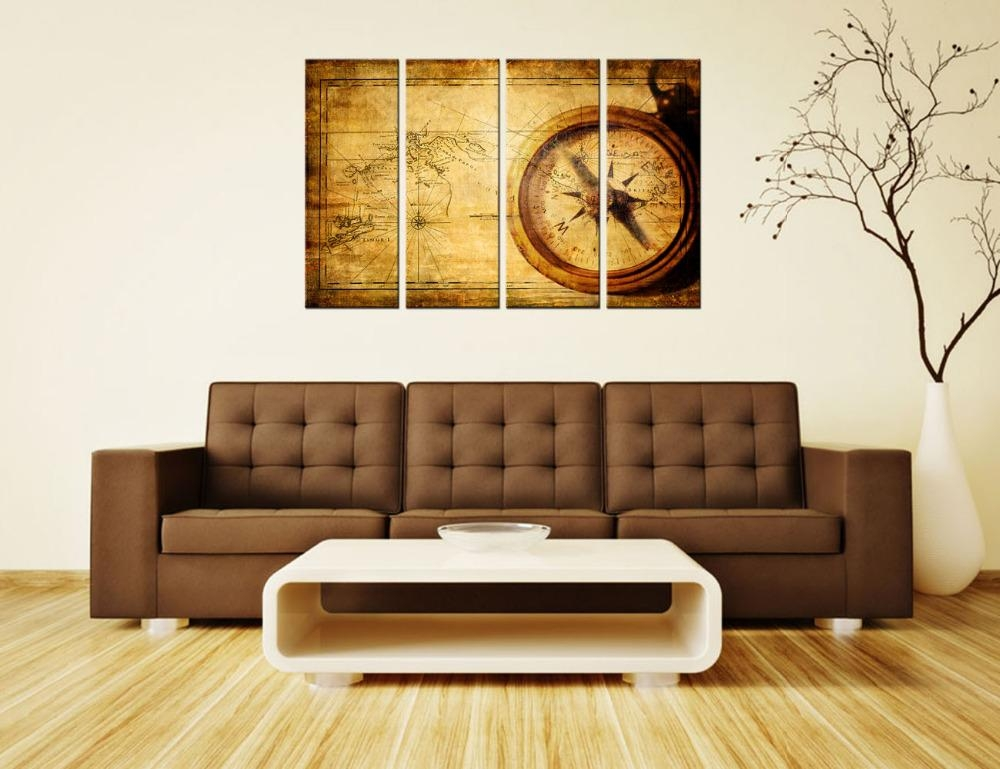 Navigation Canvas Painting Vintage World Map Wall Art Home Decor Inside Vintage World Map Wall Art (Image 8 of 20)