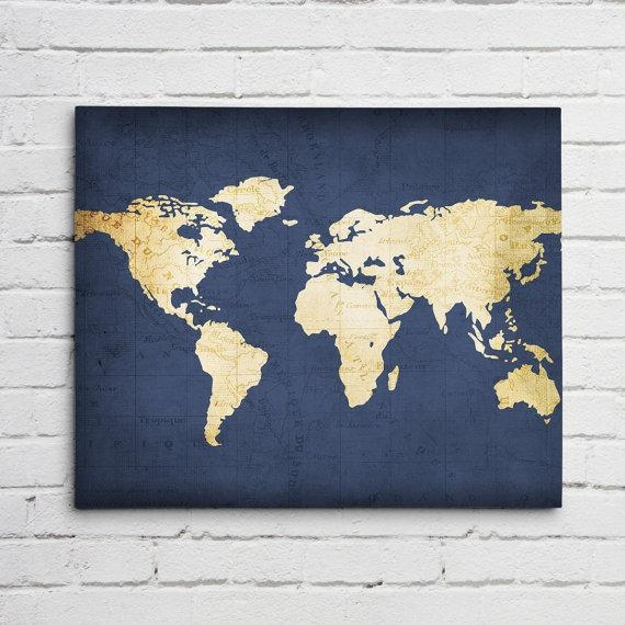 Navy World Map Wall Art Canvas World Map Print In Navy Blue Within World Map Wall Art Print (Image 8 of 20)
