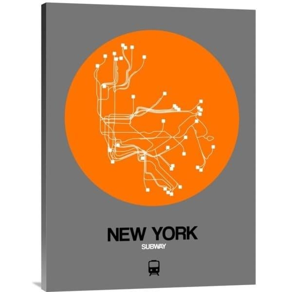 Naxart Studio 'new York Orange Subway Map' Stretched Canvas Wall Pertaining To New York Subway Map Wall Art (View 19 of 20)