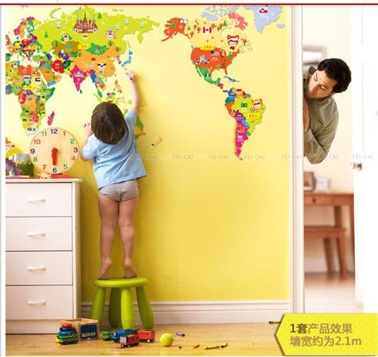 New 2013 Free Shipping Cheap Wall Sticker Cartoon World Map Regarding Kids World Map Wall Art (Image 15 of 20)