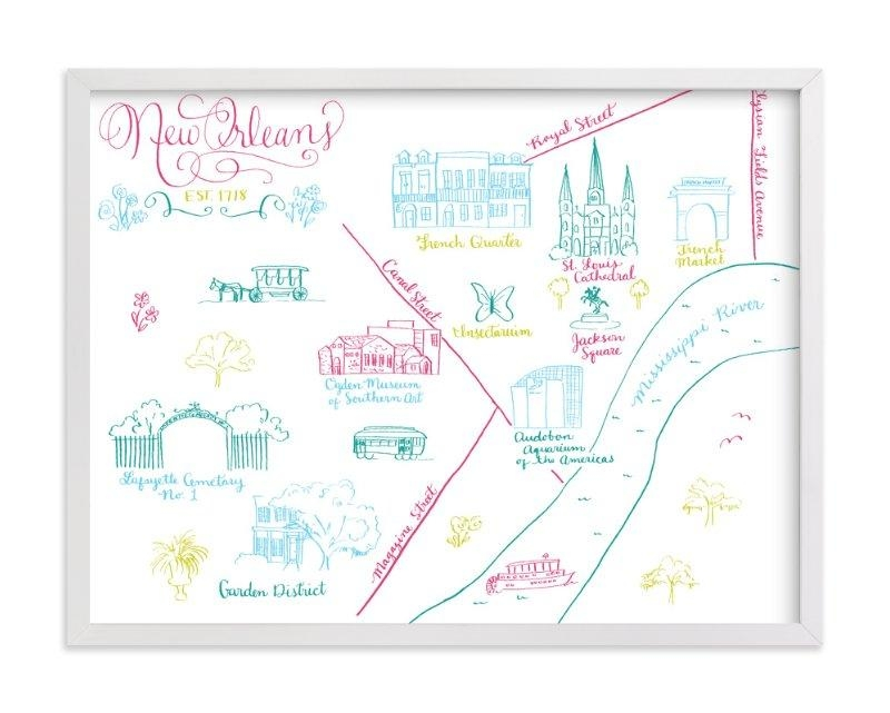 New Orleans Calligraphy Map Wall Art Printsmegan Kelso | Minted With New Orleans Map Wall Art (Image 7 of 20)
