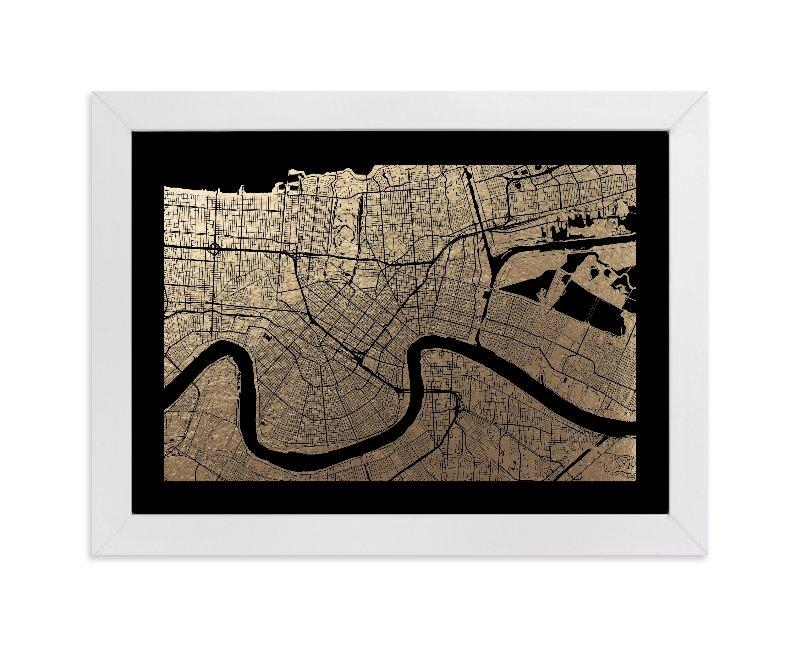 New Orleans Map Foil Pressed Wall Artalex Elko Design | Minted Inside New Orleans Map Wall Art (View 4 of 20)