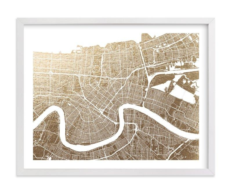 New Orleans Map Foil Pressed Wall Artalex Elko Design | Minted Regarding New Orleans Map Wall Art (Image 11 of 20)
