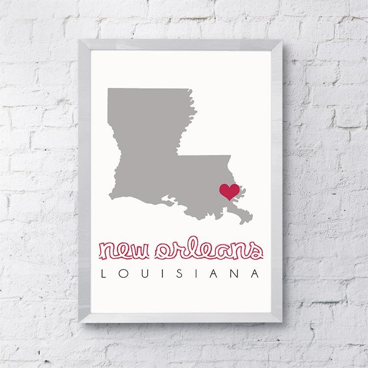 New Orleans Map, New Orleans Wall Art, Printable Map Wall Art Inside New Orleans Map Wall Art (Image 16 of 20)