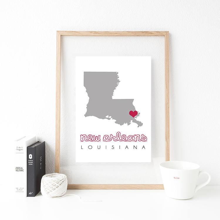 New Orleans Map, New Orleans Wall Art, Printable Map Wall Art Intended For New Orleans Map Wall Art (Image 17 of 20)