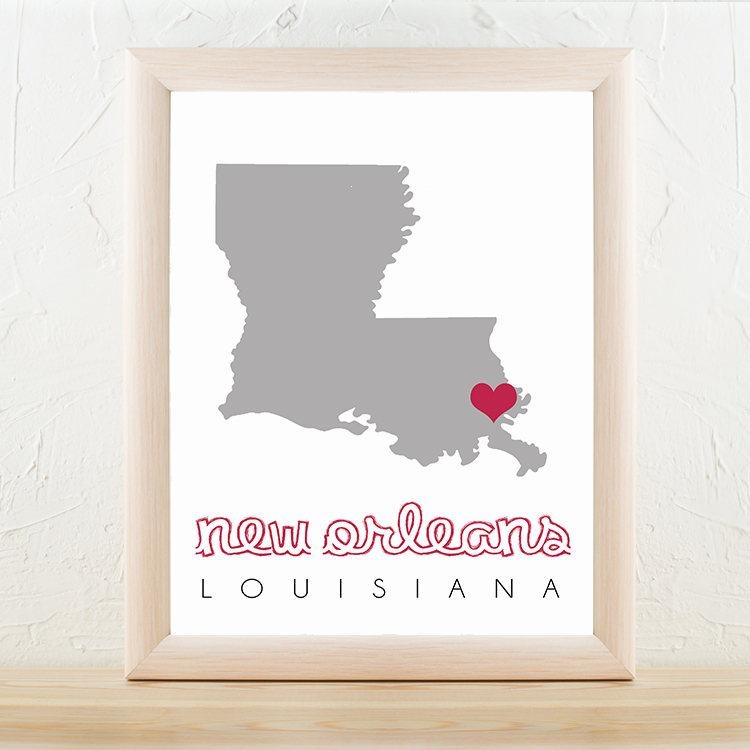 New Orleans Map, New Orleans Wall Art, Printable Map Wall Art Within New Orleans Map Wall Art (View 8 of 20)