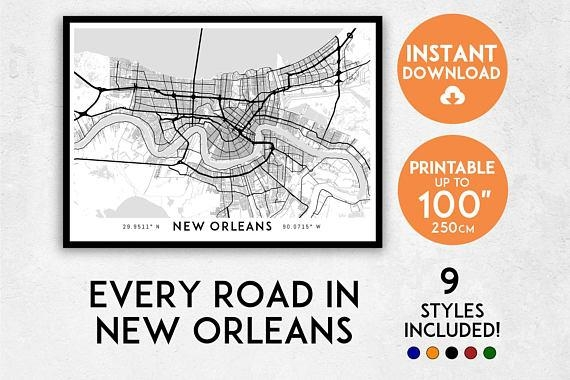 New Orleans Map Print New Orleans Print New Orleans City Within New Orleans Map Wall Art (Image 14 of 20)