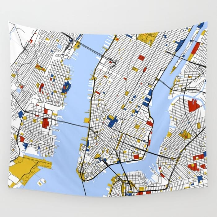 New York City , Map Art Print / Street Map Art Wall Tapestry With New York City Map Wall Art (Photo 19 of 20)