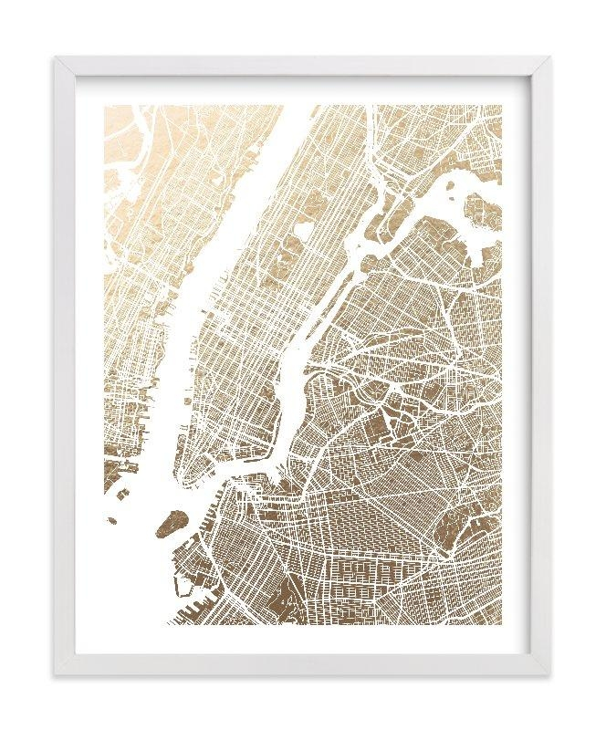 New York City Map Foil Pressed Wall Artalex Elko Design | Minted Throughout New York Map Wall Art (Photo 1 of 20)
