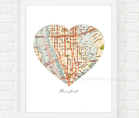 New York City Map Map Heart Print Manhattan Map Nyc Wall Inside Manhattan Map Wall Art (Image 11 of 20)