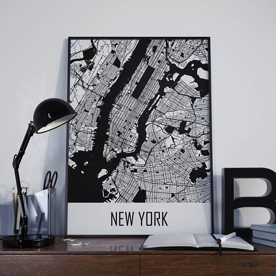 New York City Map New York Map Manhattan Map City Map New York Pertaining To Manhattan Map Wall Art (Image 12 of 20)