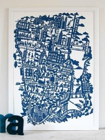 New York City Map (Night Blue) For City Map Wall Art (Image 14 of 20)