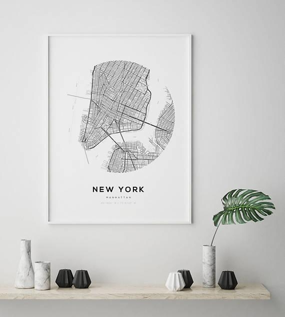 New York City Map Ny Map Art Modern Minimalist Nyc Map In New York City Map Wall Art (Image 10 of 20)