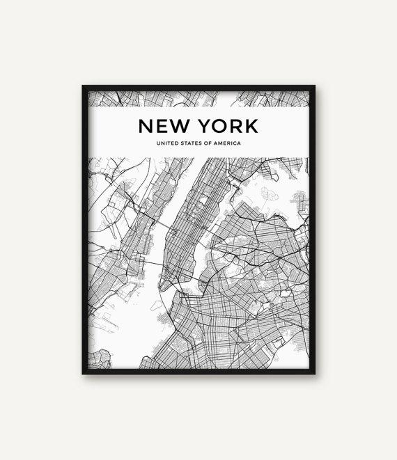 New York City Map Print Map Of New York Black And White New Inside New York City Map Wall Art (Image 11 of 20)