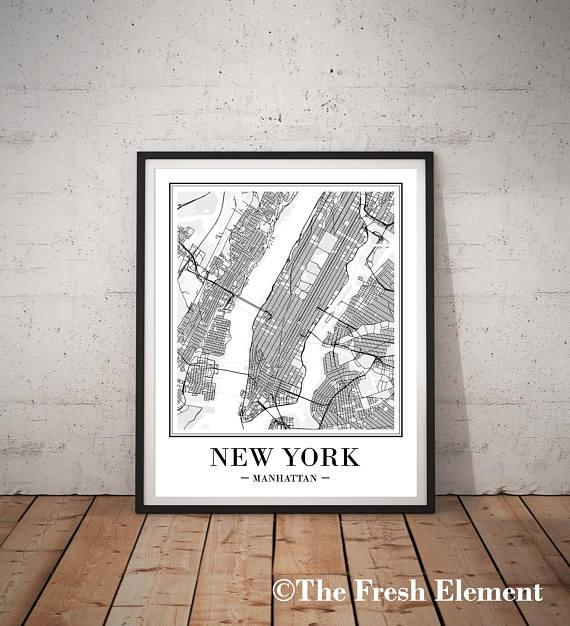 New York City Map Print New York Map Print Printable Map Ny Within Manhattan Map Wall Art (Image 13 of 20)
