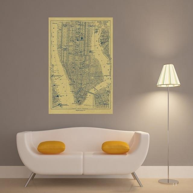 New York City Map Vintage Retro Posters And Prints Home Decoration With New York City Map Wall Art (Image 13 of 20)