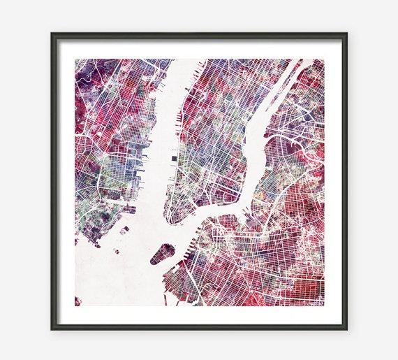 New York City Map Watercolor Painting Giclee Fine Art In New York Map Wall Art (Photo 7 of 20)
