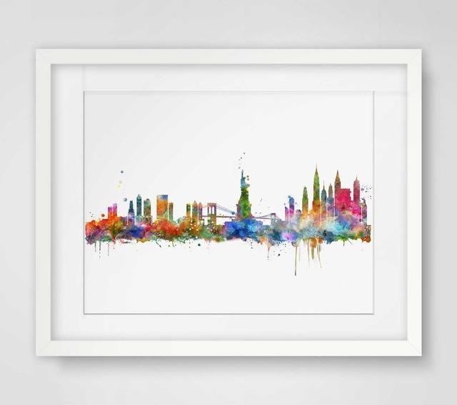 New York City Skyline Watercolor Poster Ny City Map Skyline Art Throughout New York City Map Wall Art (Image 15 of 20)