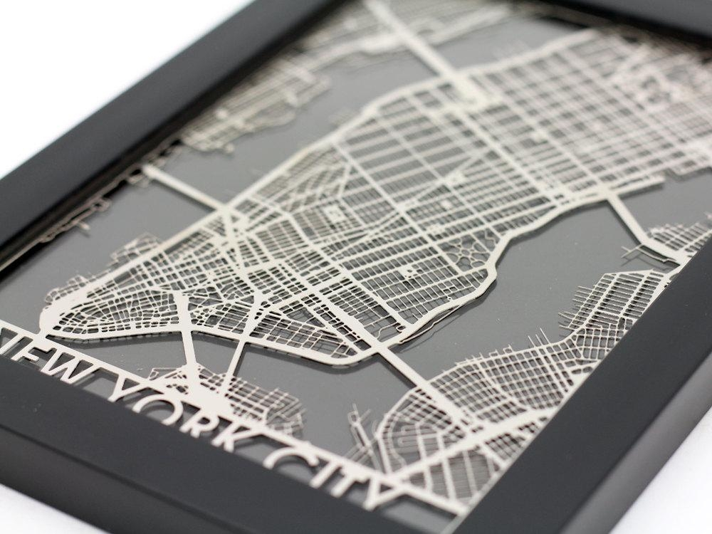 New York City Stainless Steel Laser Cut Map 5X7 Framed Throughout New York City Map Wall Art (Image 16 of 20)