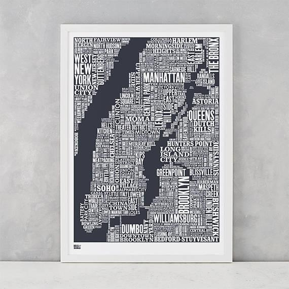New York City Type Map Screen Print New York City Type Map Throughout Nyc Map Wall Art (Image 14 of 20)
