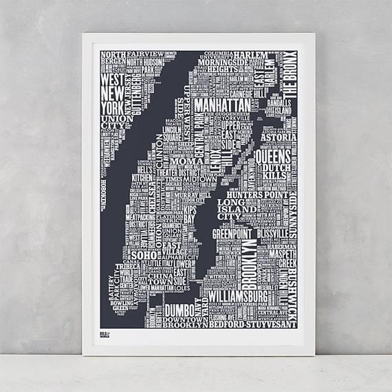 New York City Type Map Screen Print New York City Type Map With Regard To New York Map Wall Art (Image 13 of 20)