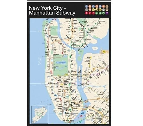 New York Manhattan Subway Map Poster With Regard To New York Subway Map Wall Art (Image 11 of 20)