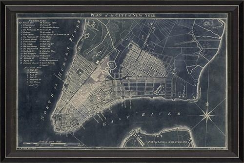 New York Map 1789 Blue Framed Wall Artspicher And Company For New York Map Wall Art (Image 14 of 20)