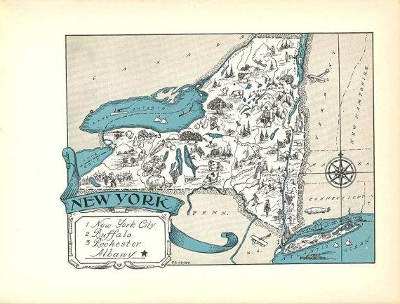 New York Map Art / Ny State Wall Decor / 1930S Vintage Map Regarding New York Map Wall Art (Image 15 of 20)