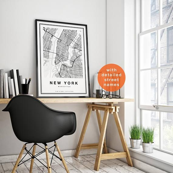 New York Map New York City Map Print Manhattan Map Print Inside Manhattan Map Wall Art (Image 14 of 20)