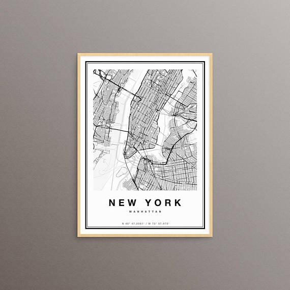 New York Map New York City Map Print Manhattan Map Print With Regard To Manhattan Map Wall Art (Image 16 of 20)