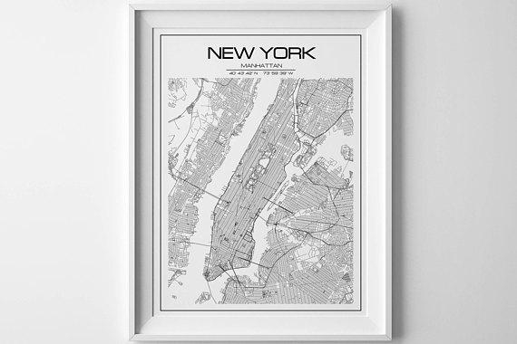 New York Map Print Manhattan Print Extra Large Wall Art New Throughout Manhattan Map Wall Art (Image 17 of 20)