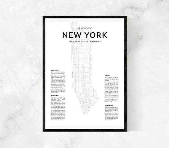 New York Map Print Map Wall Art New York Map Wall Art New For New York Map Wall Art (Image 16 of 20)