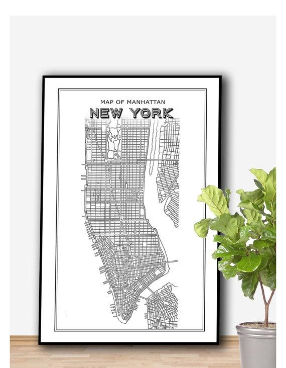 New York Map Printable File New York Print Manhattan Print With Nyc Map Wall Art (Image 17 of 20)