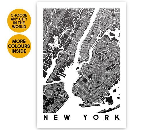 New York Map Wall Art Print Map Poster Travel Gift New York In New York City Map Wall Art (Image 18 of 20)