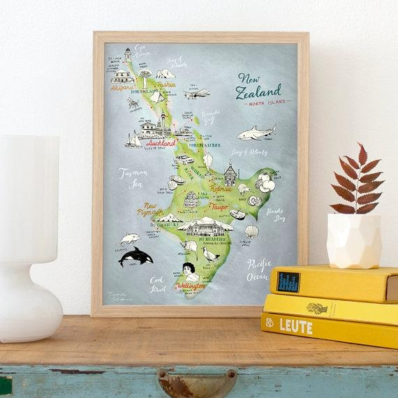 New Zealand Map Of North Island Giclee Art Print Lovely Throughout New Zealand Map Wall Art (View 13 of 20)