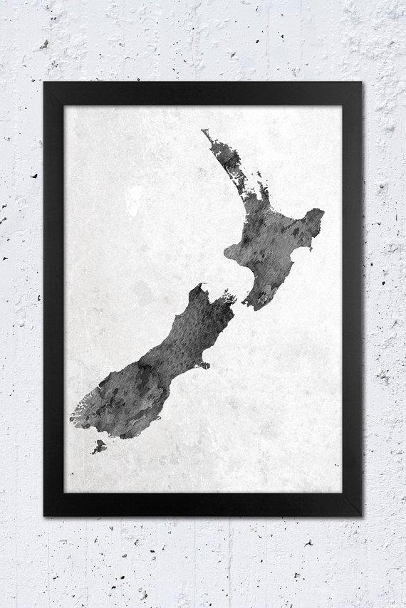 New Zealand Map Print New Zealand Silhouette Map Print Black Pertaining To New Zealand Map Wall Art (View 19 of 20)