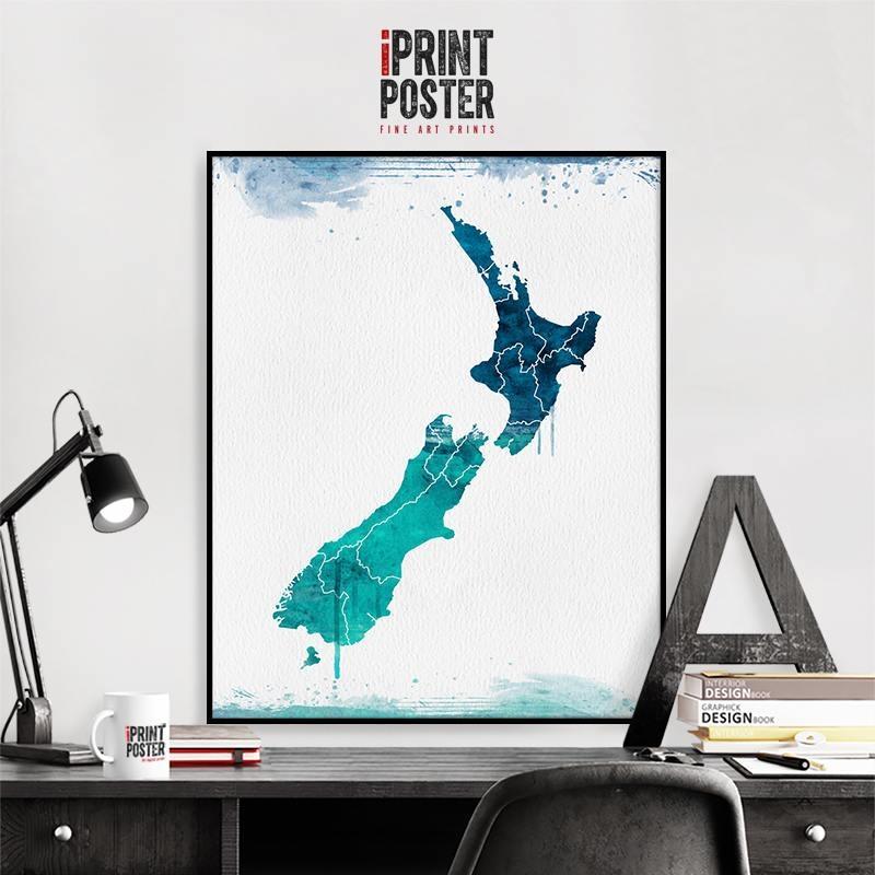 New Zealand Wall Art Print New Zealand Map Poster Travel Intended For New Zealand Map Wall Art (Image 12 of 20)