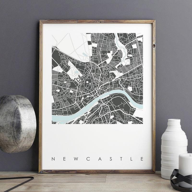 Newcastle Map Art Prints – Limited Edition Prints – Bronagh In City Map Wall Art (Image 17 of 20)
